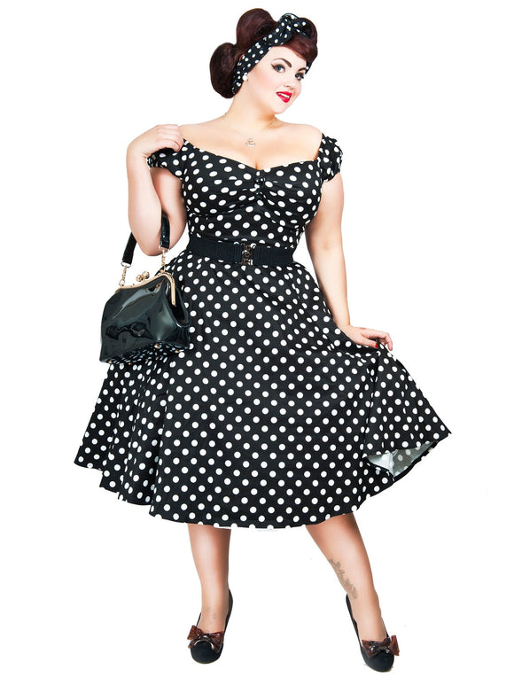 MAINLINE DOLORES DOLL DRESS POLKA BLACK