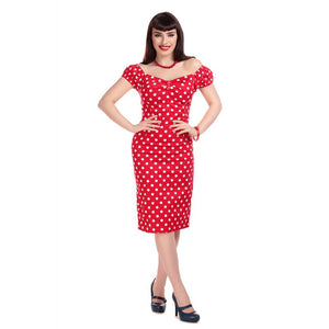 MAINLINE DOLORES DRESS POLKA RED