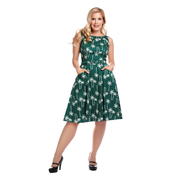 MAINLINE HEPBURN VINTAGE PALM SWING DRESS