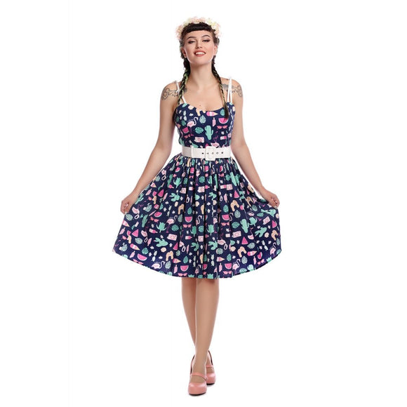 MAINLINE JADE SUMMER FLAMINGO SWING DRESS NAVY