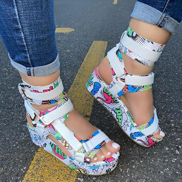 Zoiefashion Pattern Graffiti Trend Fashion Sandals
