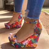 Zoiefashion Printed Tropical Style Platform Sandals