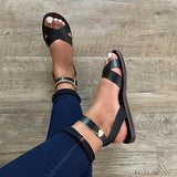 Zoiefashion Cross Strap Classic Leather Sandals