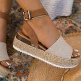 Zoiefashion Burlap Espadrille Platform Sandals