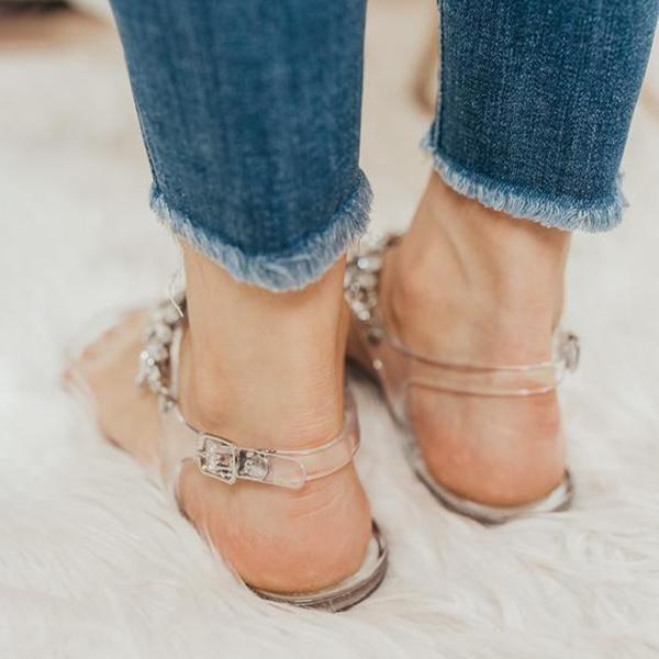 Zoiefashion Crystal Clear Sandals