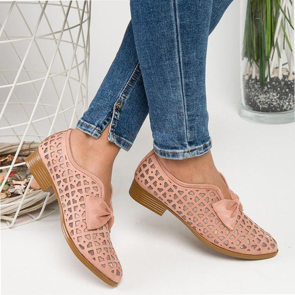 Vicsrack Hollow Out Chunky Heel Loafers For Women