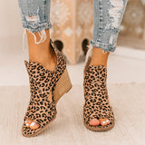 Zoiefashion Leopard Open Toe Wedges