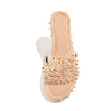 Vicsrack Multi-Sized Studs Clear Strap Slippers