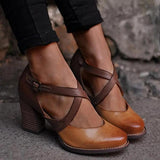 Vicsrack Women Vintage Color Block Sandals