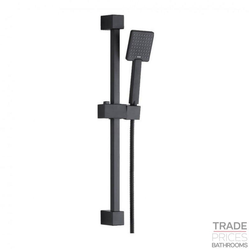 Harrisons Black Square Slider Rail Shower Kit  Tradeprices Building Supplies & Services Limited