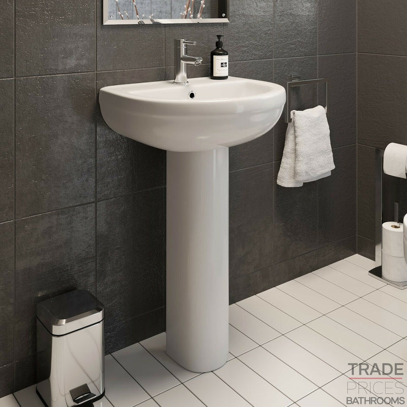 Spa 500Mm 1Th Basin & Full Pedestal -