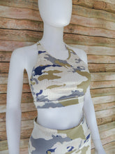 Load image into Gallery viewer, Training Camp Blue Camo Sports Bra