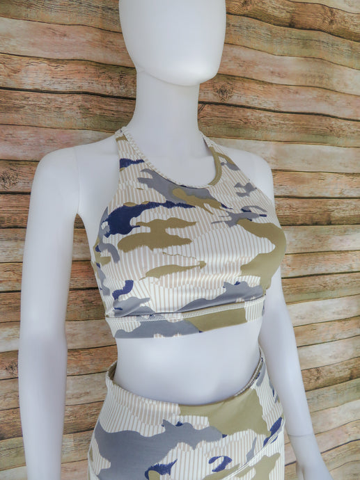 Training Camp Blue Camo Sports Bra