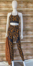 Load image into Gallery viewer, Navy & Camel Floral Moto Pants