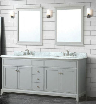 "Azzuri AURORA-VS72-LG-C Aurora 73"" Double Sink Vanity in Light Gray finish with Carrera White Marble Top"