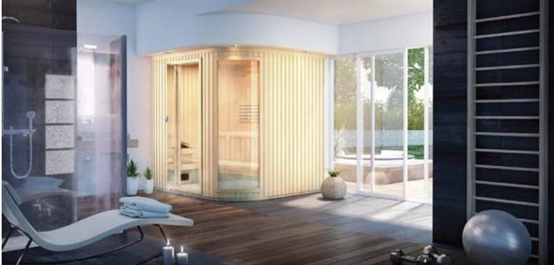 "Amerec Pacific Signature Sauna Room 72"" X 84"" X 84 With Curved Glass"