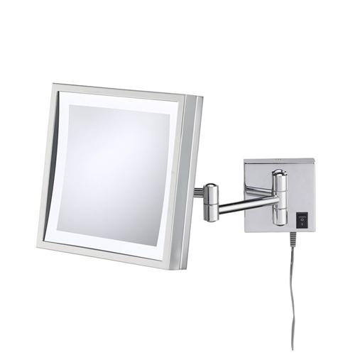 Kimball & Young 91243 Single-Sided LED Square Wall Mirror w/ 6-Feet Plug-in Cord Chrome