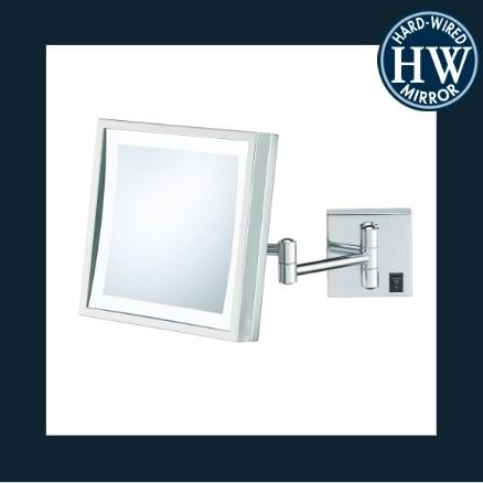 Kimball & Young 91273HW Single-Sided Hardwired LED Square Wall Mirror Brushed Nickel