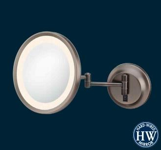 Kimball & Young 944-35-75HW Single-sided Warm LED Round Wall Mirror - Brushed Nickel