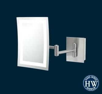 Kimball & Young 949-35-73HW Single-sided Warm LED Rectangular Wall Mirror - Brushed Nickel