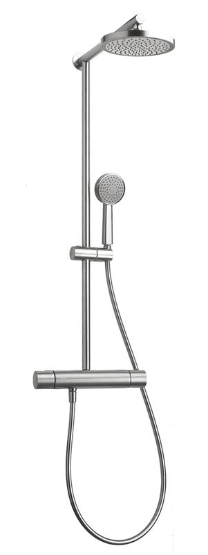 "Aquabrass ABFB052635BSS 52635 Tekno 1/2"" Thermostatic Shower Column Brushed Stainless Steel"
