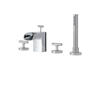 Aquabrass ABFB32018BN 32018 Love Me 4Pc D/Mount Tub Filler W/Handshower Brushed Nickel