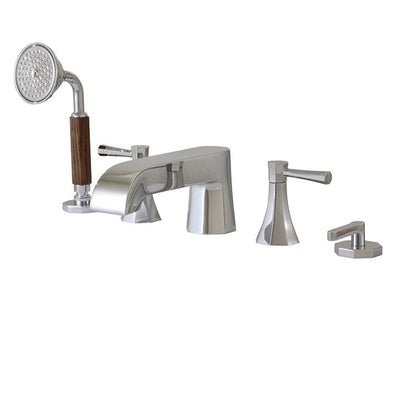 Aquabrass ABFB53006BN 53006 Otto 5Pc Deck Tub Filler W/Handshower Brushed Nickel
