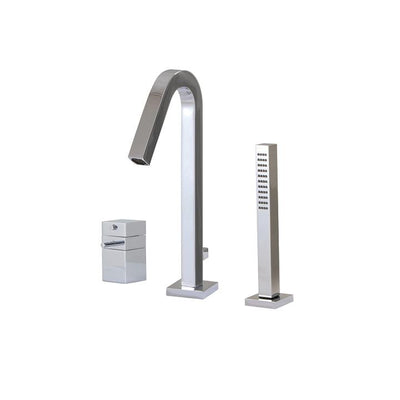 Aquabrass ABFBX7733BN X7733 Xsquare 3 Pce Tub Filler - Thermo Brushed Nickel