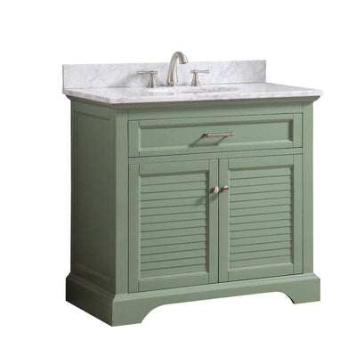 "Avanity COLTON-VS37-BG-C Colton 37"" Vanity Combo Only in Basil Green with Carrara White Marble Top"