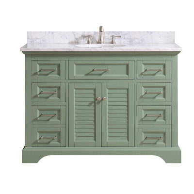 "Avanity COLTON-VS49-BG-C Colton 49"" Vanity Combo Only in Basil Green with Carrara White Marble Top"
