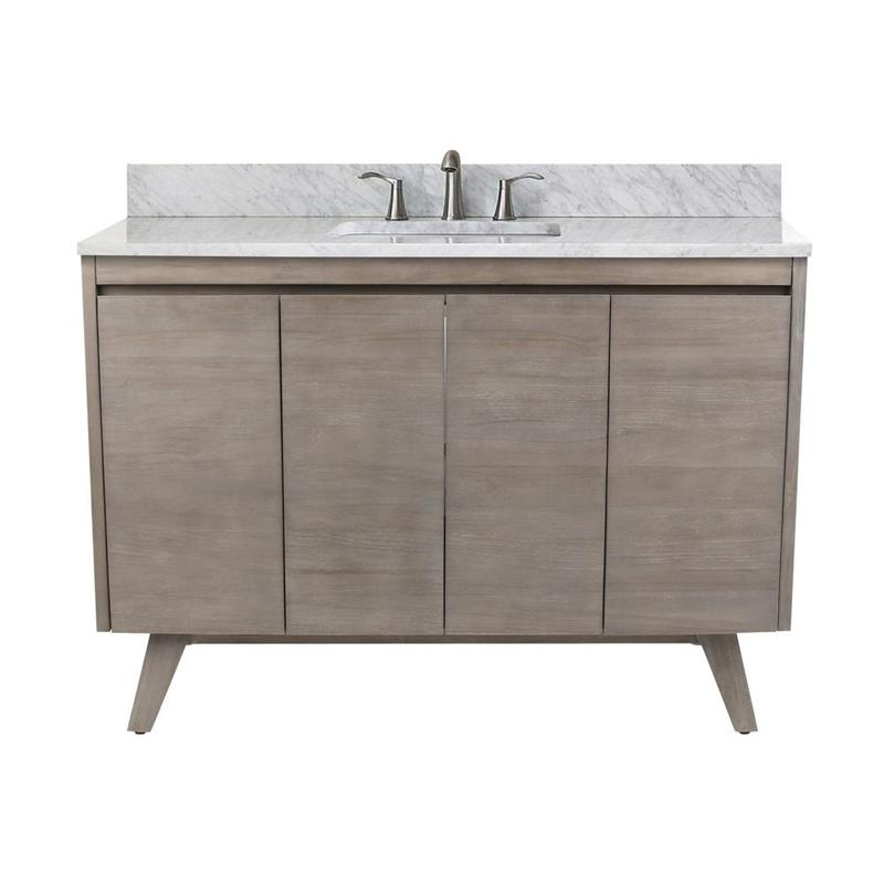 "Avanity COVENTRY-VS49-GT Coventry 49"" Vanity Combo in Gray Teak with Carrera White Marble Top"