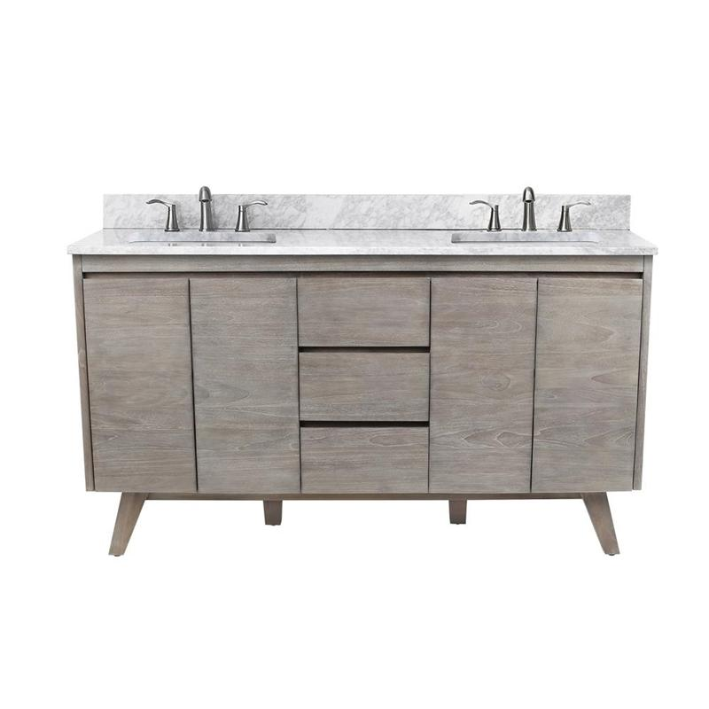 "Avanity COVENTRY-VS61-GT Coventry 61"" Vanity Combo in Gray Teak with Carrera White Marble Top"