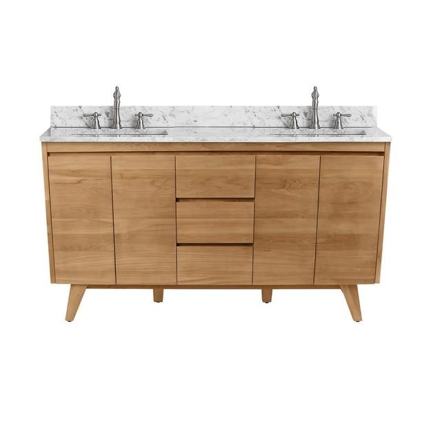 "Avanity COVENTRY-VS61-NT Coventry 61"" Vanity Combo in Natural Teak with Carrera White Marble Top"
