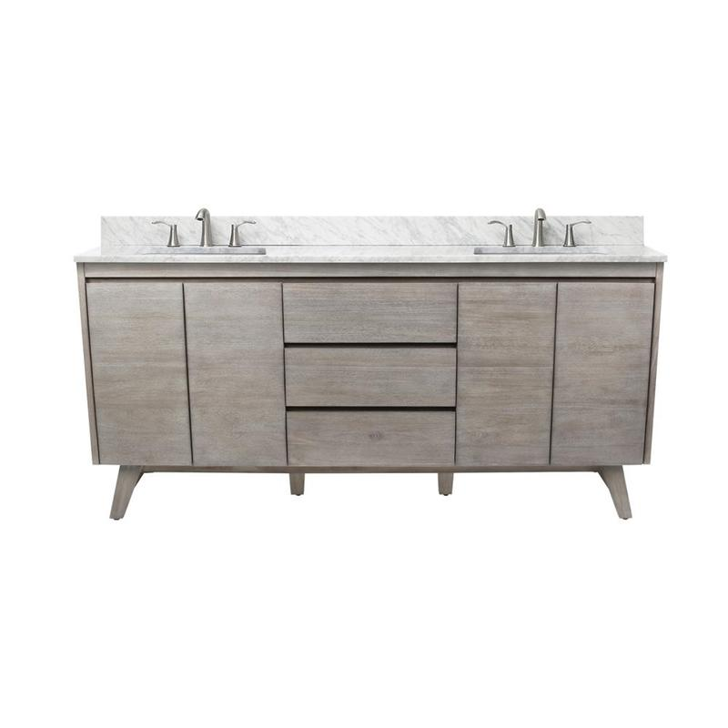 "Avanity COVENTRY-VS73-GT Coventry 73"" Vanity Combo in Gray Teak with Carrera White Marble Top"