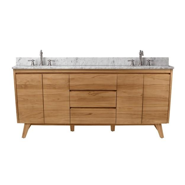 "Avanity COVENTRY-VS73-NT Coventry 73"" Vanity Combo in Natural Teak with Carrera White Marble Top"