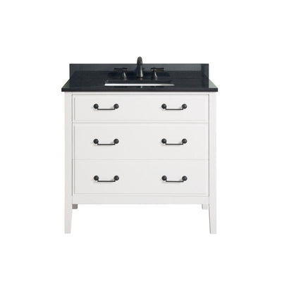 "Avanity DELANO-VS36-WT-A Delano 37"" Vanity Combo in White finish w/ Black Granite Top"
