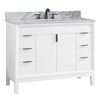 "Avanity EMMA-VS43-WT-C Emma 43"" Vanity Combo in White with Carrara White Marble Top"