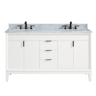 "Avanity EMMA-VS61-WT-C Emma 61"" Vanity Combo in White with Carrara White Marble Top"