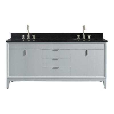 "Avanity EMMA-VS73-DG-A Emma 73"" Vanity Combo in Dove Gray with Black Granite Top"