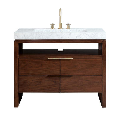 "Avanity GISELLE-VS43-NW-CW Giselle 43"" Vanity in Natural Walnut with Integrated Carrara White Marble Top"
