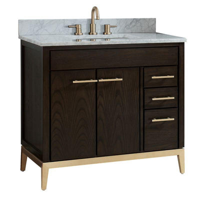 "Avanity HEPBURN-VS37-DC-C Hepburn 37"" Vanity Combo in Dark Chocolate with Carrara White Marble Top"