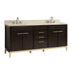 "Avanity HEPBURN-VS73-DC-D Hepburn 73"" Vanity Combo in Dark Chocolate with Crema Marfil Marble Top"