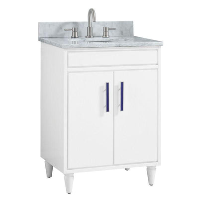 "Avanity LAYLA-VS25-WT-C Layla 25"" Vanity Combo in White with Carrara White Marble Top"