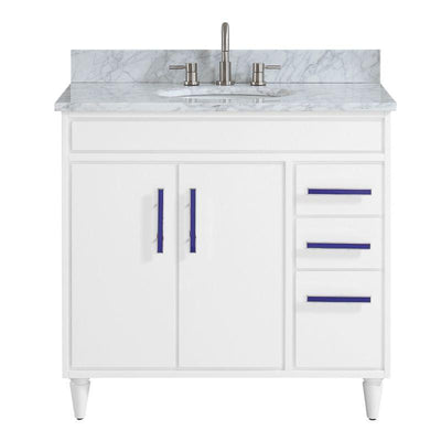 "Avanity LAYLA-VS37-WT-C Layla 37"" Vanity Combo in White with Carrara White Marble Top"