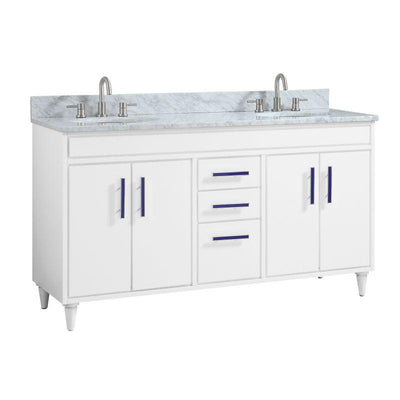 "Avanity LAYLA-VS61-WT-C Layla 61"" Vanity Combo in White with Carrara White Marble Top"
