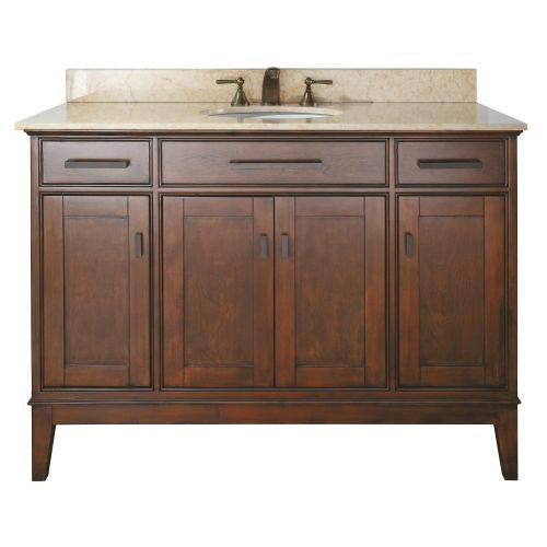 "Avanity MADISON-VS48-TO-B Madison 48"" Vanity w/ Beige Marble Top and Sink in Tobacco finish"