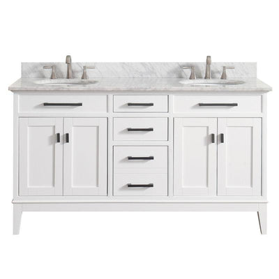 "Avanity MADISON-VS60-WT-C Madison 61"" Double Sink Vanity Combo in White finish w/ Carrera White Top"
