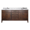 "Avanity MADISON-VS72-TO-C Madison 72"" Vanity w/ Carrera White Marble Top and Double Sinks in Tobacco finish"