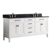 "Avanity MADISON-VS72-WT-A Madison 73"" Double Sink Vanity Combo in White finish w/ Black Granite Top"