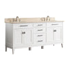 "Avanity MADISON-VS72-WT-B Madison 73"" Double Sink Vanity Combo in White finish w/ Galala Beige Top"